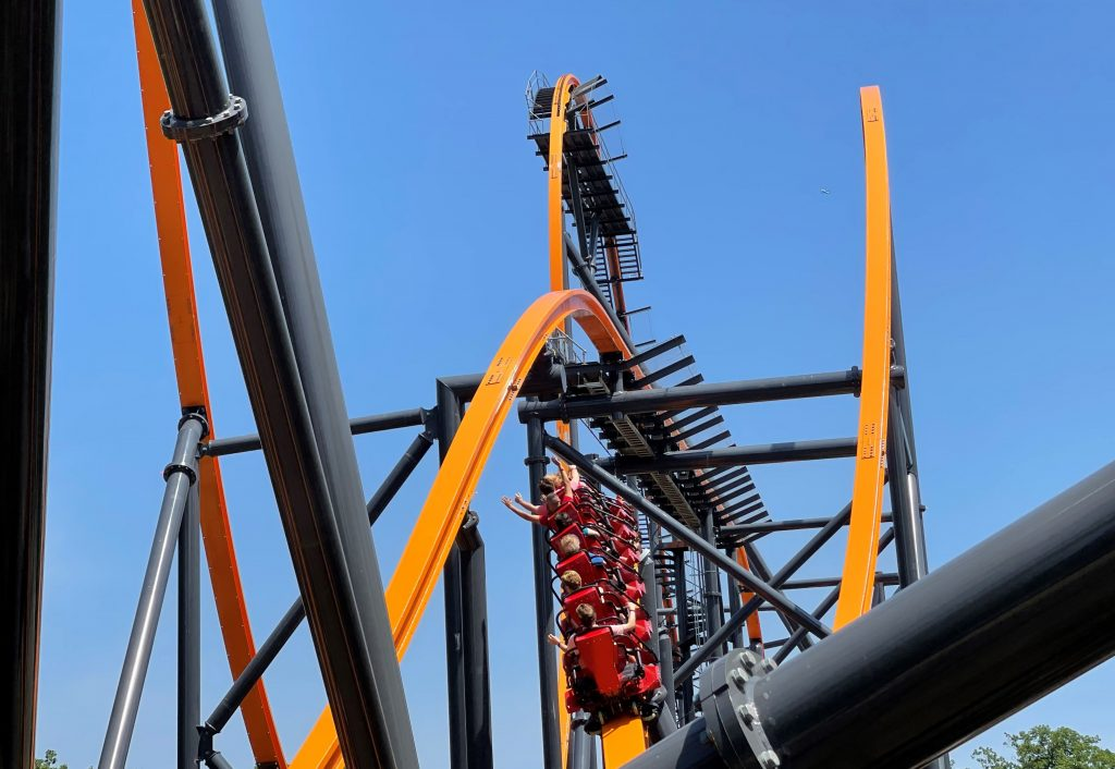 Jersey Devil Coaster Inward Banking Airtime Hill From Behind Shot 1
