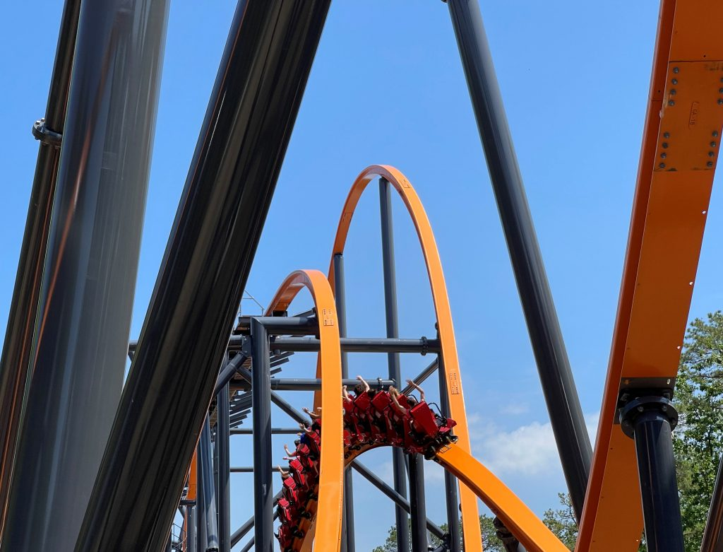 Jersey Devil Coaster Inward Banking Airtime Hill From Behind Shot 2