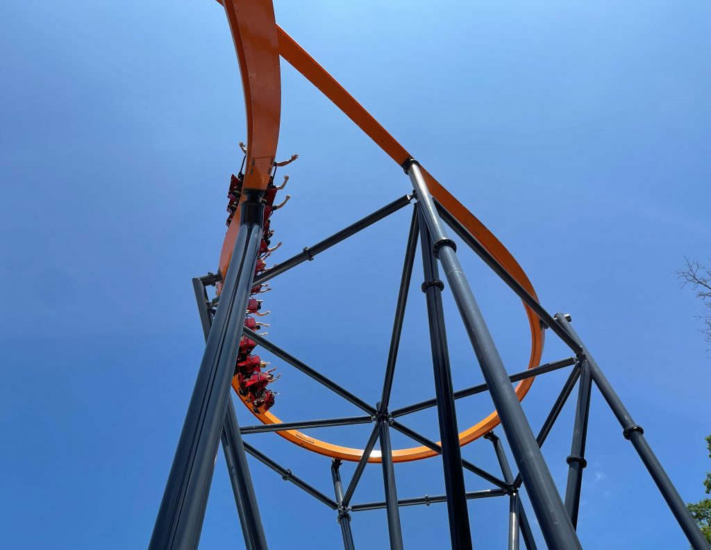 Jersey Devil Coaster Entering Overbanked Cutback From Below