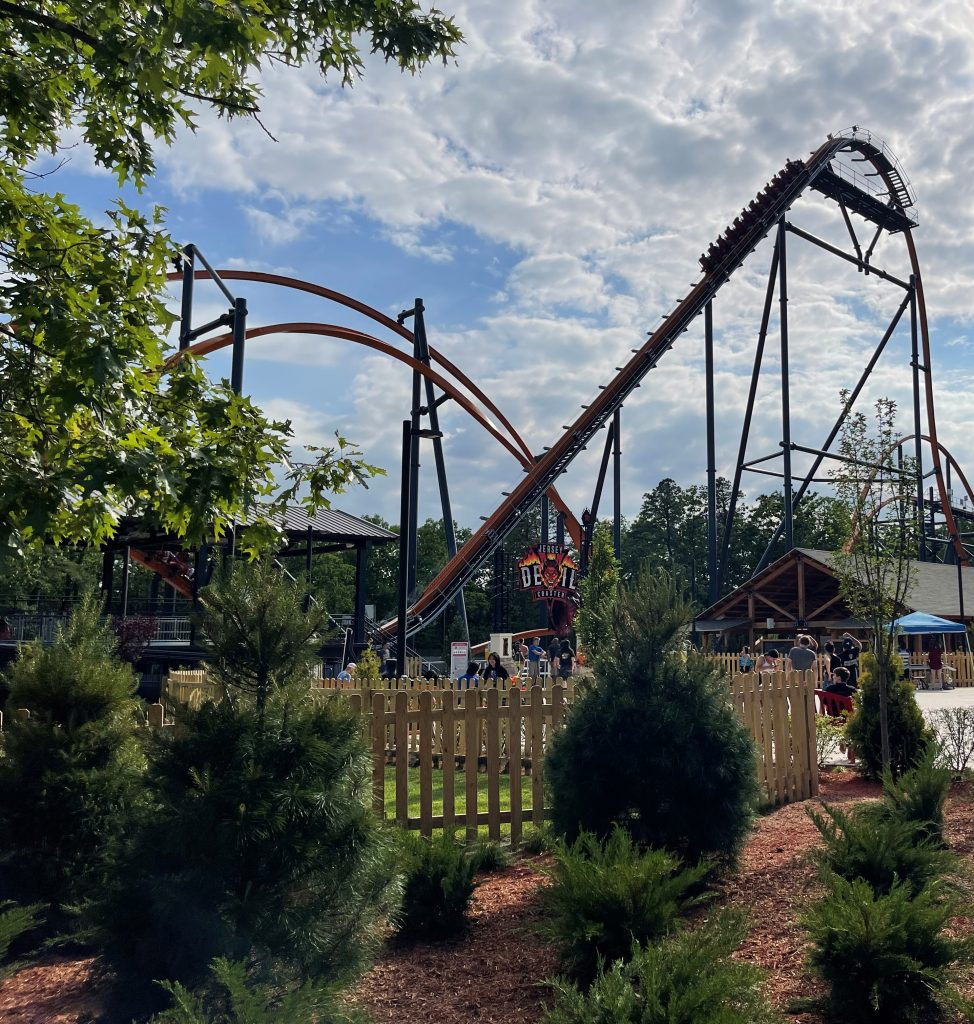 Jersey Devil Coaster Lift Hill Through Pines