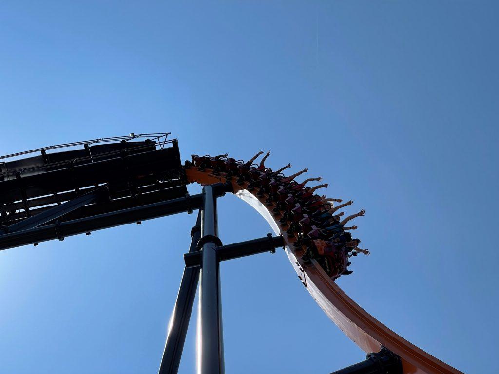 Jersey Devil Coaster 87-Degree First Drop Close-Up