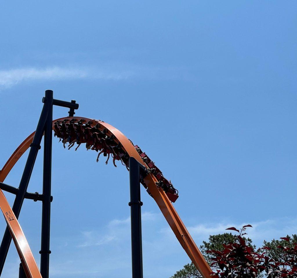 Jersey Devil Coaster Entering 180-Degree Stall