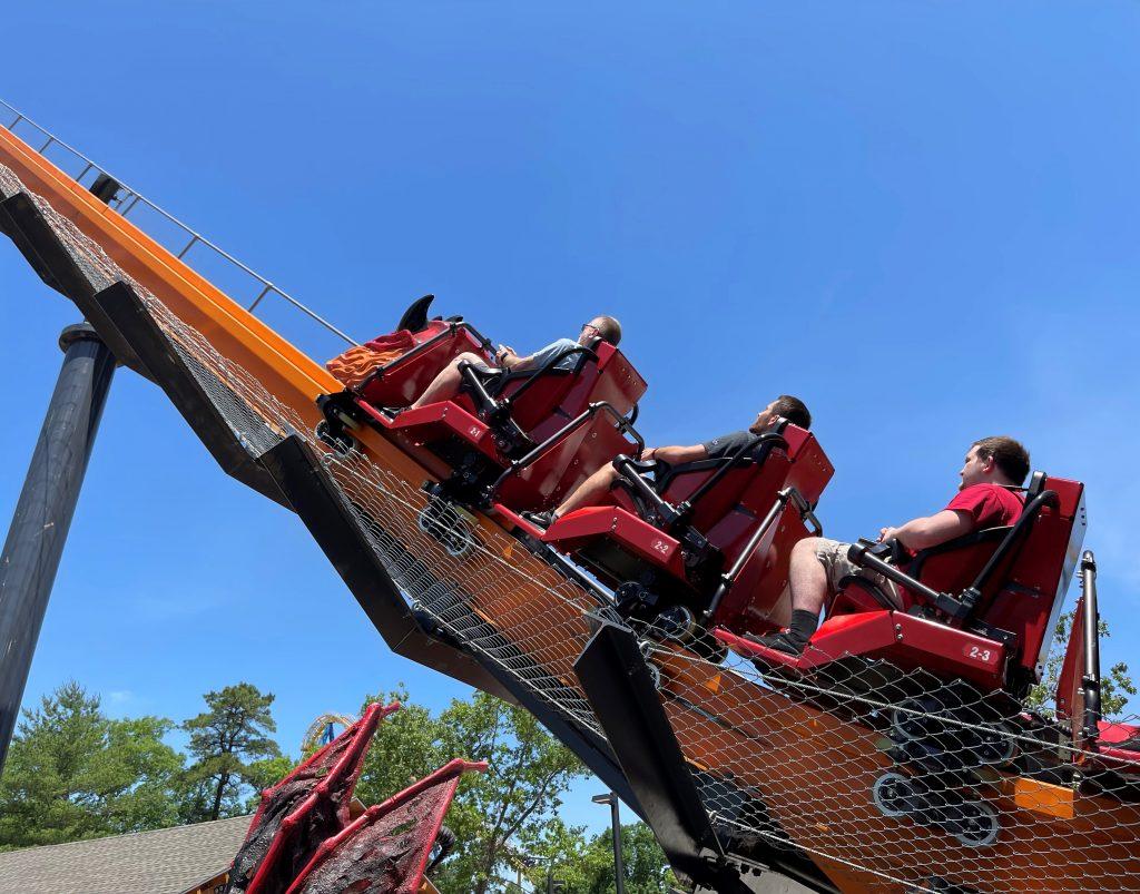 Jersey Devil Coaster Starting To Climb The Lift Hill
