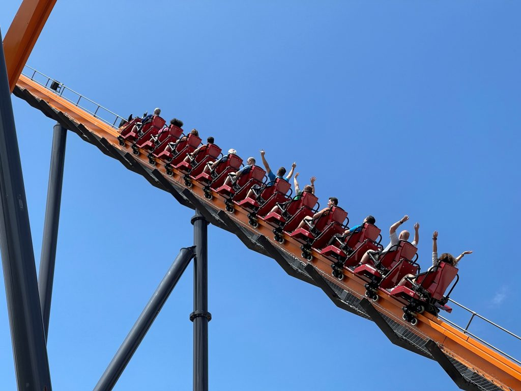 Jersey Devil Coaster Heading Up The Lift Hill
