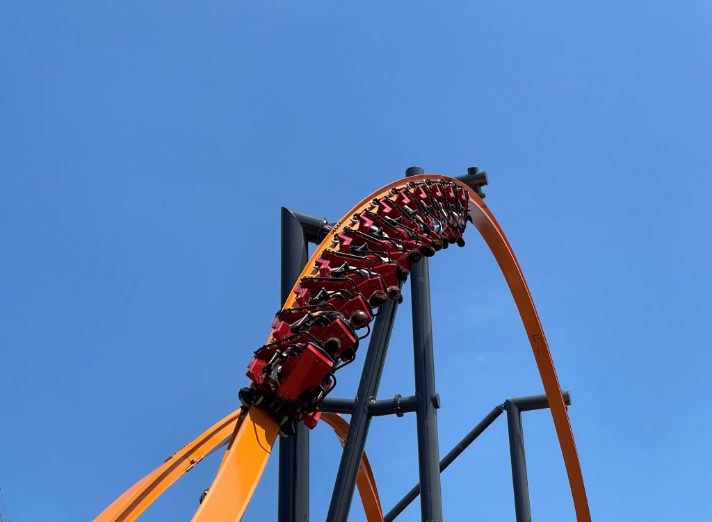 Jersey Devil Coaster Entering 180-Degree Stall From Behind