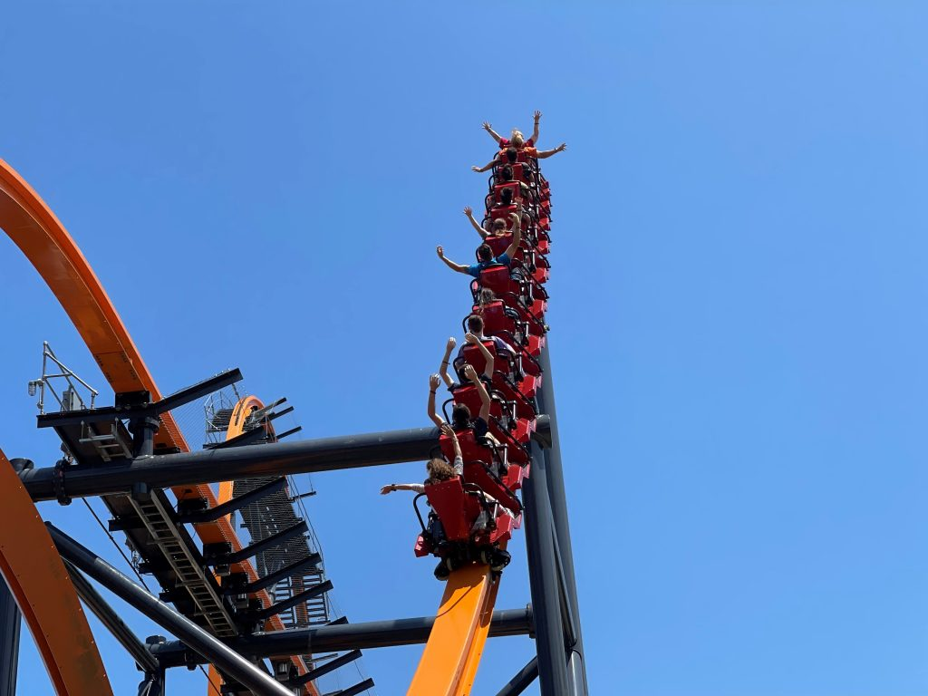 Jersey Devil Coaster Entering First Airtime Hill