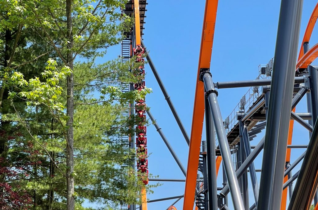 Jersey Devil Coaster 87-Degree First Drop Through the Pines