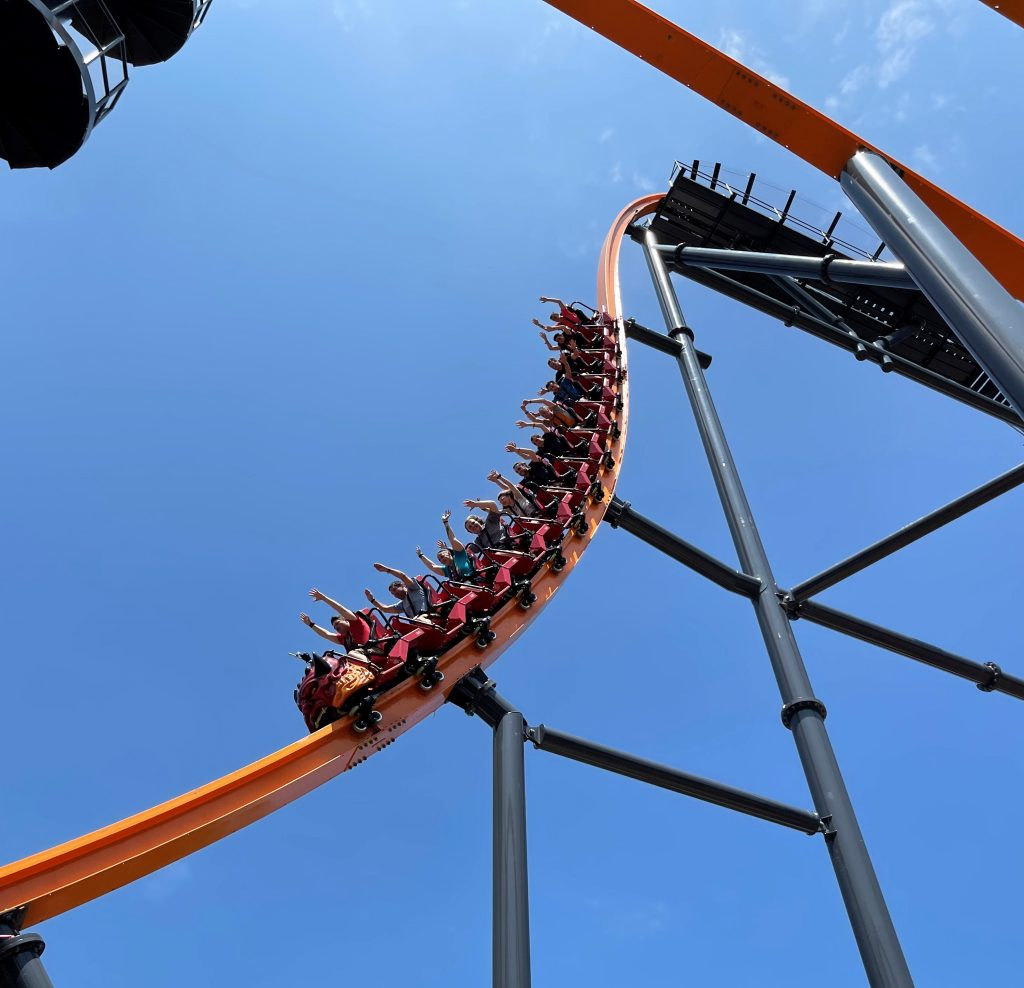 Jersey Devil Coaster 87-Degree First Drop From Infield
