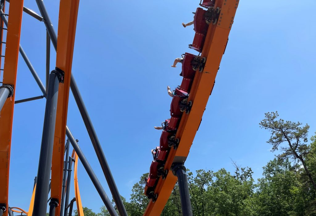 Jersey Devil Coaster Exiting 87-Degree First Drop