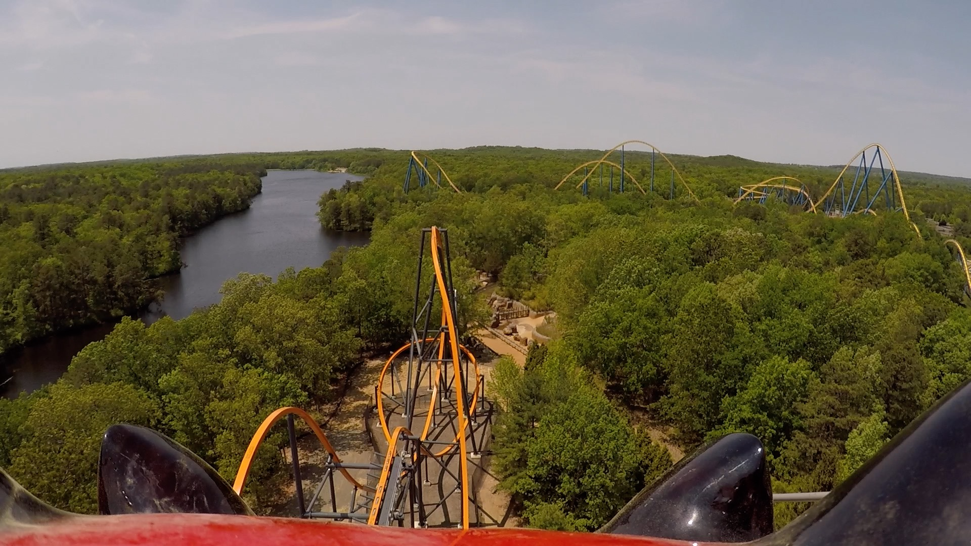 Devilish View as Jersey Devil Coaster Crests The Top of the Lift Hill at Six Flags Great Adventure.